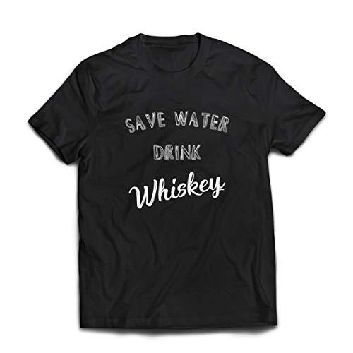 lepni.me Männer T-Shirt Wasser sparen Whiskey Trinken Lustiges Whiskey-Geschenk für Whiskey-Liebhaber (X-Large Schwarz Mehrfarben)