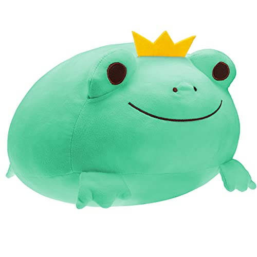DITUCU Stuffed Animal Frog Plush Toy Squishy Frog Plush Pillow,Soft Stretchy Plush Toy Adorable Stuffed Crown Frog Decoration Cuddly Gift for Kids Green 14 inch