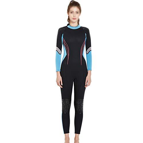 Zidao Frauen Neoprenanzug, Damen Sommer Neoprenanzug in Voller Länge Einteiliger Langärmeliger Schwimmender Surf Schnorchel Neoprenanzug Für Erwachsene,Blau,XL