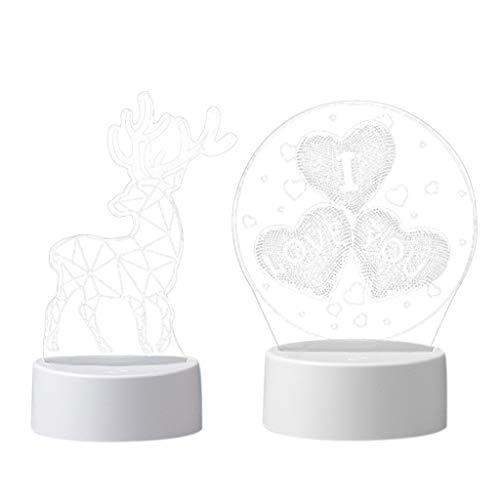 Baoblaze 2pcs LED 3D Nightlight Al Lado de Acrílico Grabado Láser USB Night Lamp Deer