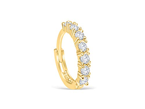 14K Real Solid Gold Jewelry Cz 5mm Open Round Circle Tragus Cartilage Snug Inner Outer Conch Daith Helix Ear Segment Clicker Huggie Hoop Ring Piercing Earring For Women