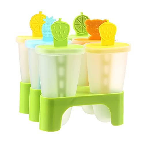 Moldes Para Helados, Moldes polos, Poleras Helado, Molde Helado, 6 Popsicle Mold, Material de PP,Reutilizable,Juego de Moldes para Paletas
