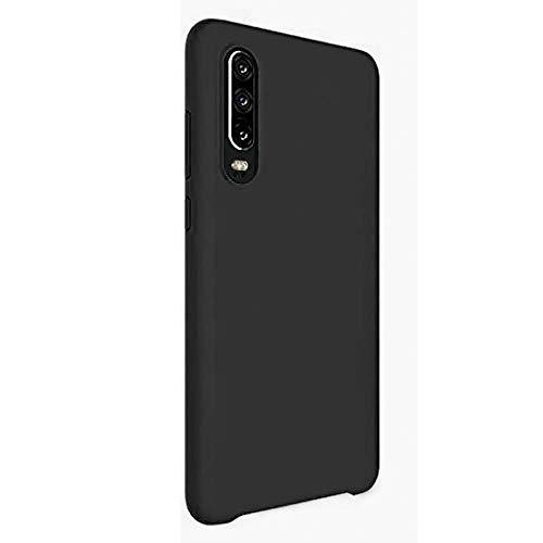 AIsoar Coque Compatible/Remplacement pour Huawei P30 Silicone Liquide Souple TPU Gel Housse avec Doux Microfibre Coussin Doublure 360° Protection Étui Case (Noir)