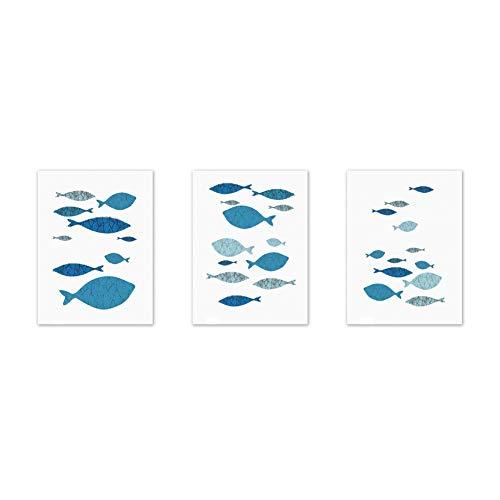 3 unids lienzo pared arte dibujos animados peces impreso cuadro lienzo pintura para sala dormitorio decoración oficina
