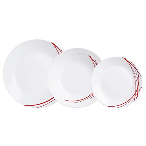 Arcopal Domitille Tafelservice aus Opalglas, extra stark, für 6 Personen, 18 Stück, BPA-frei, hergestellt in Frankreich