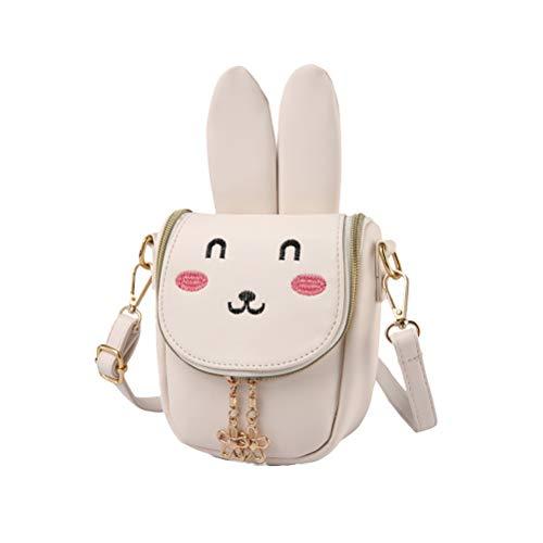 BESTOYARD Mädchen Handtasche Bunny Ear Schultertasche Super Long (Beige White)