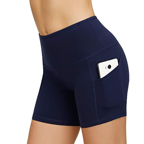 HMIYA Damen Fitness Shorts Sport Leggings Yoga Sporthose Kurze Yogahose Workout Tights Hohe Taille mit Taschen(Shorts-Navy,S)