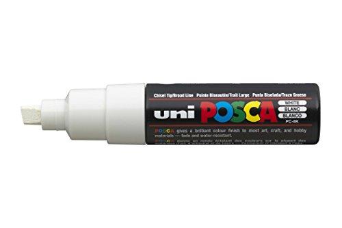 Uni-ball Posca PC-8K - Pennarello con punta a scalpello, colore: bianco, confezione da 6
