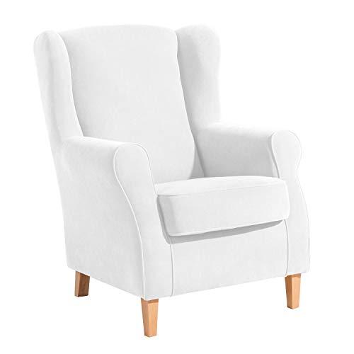 Max Winzer® Ohrensessel Lorris, creme (beige, weiß), Veloursstoff, Retro, romantisch, Landhaus, 77 x 86 x 103 cm