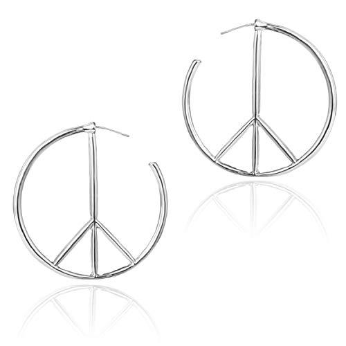 JinYu - Pendientes de aro con símbolo de la paz, diseño geométrico, minimalista, para mujer Plateado