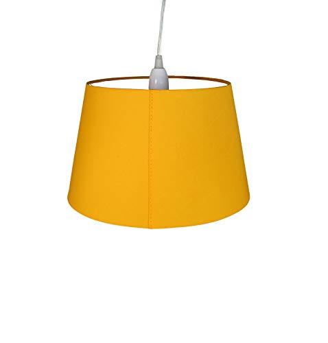 Lampenschirm, Baumwolle, trommelförmig, Senfgelb