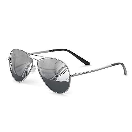 LUENX - Gafas de sol para hombre, diseño de aviador, lentes polarizadas plateadas, protección UV 400, marco de metal de 60 mm