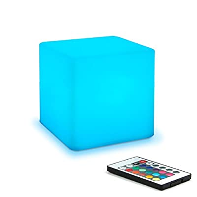 Mr.Go 4-inch Dimmable LED Night Light Mood Lamp for Kids and Adults - 16 RGB Colors - 5 Level Dimming - 4 Lighting Effects - Rechargeable - Remote Control - Decorative - Fun and Safe - White Finish by Coolqing