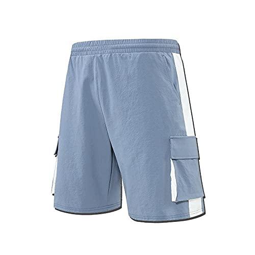 Pantalones Cortos Deportivos Informales para Hombre, Pantalones Cortos de Entrenamiento Deportivo cómodos Transpirables con múltiples Bolsillos a Juego de Colores a la Moda 5XL