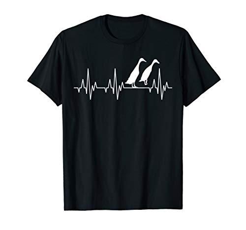 Ente Entenzucht Laufente Geflügel Geflügelzüchter Herzschlag T-Shirt