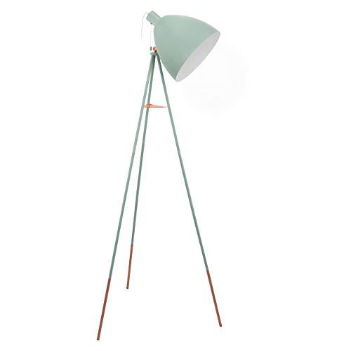 EGLO Dreibein Stehlampe Dundee, 1 flammige Vintage Stehleuchte, Standleuchte aus Stahl, Farbe: Mint, Fassung: E27, inkl. Zugschalter