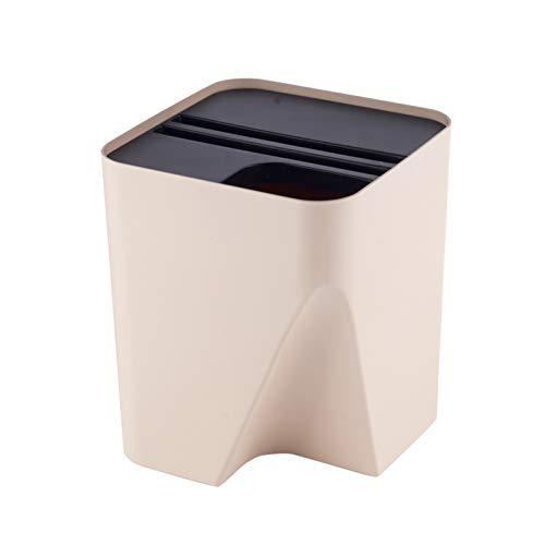 Papierkorb Stapelbare Trash Can kreativer Plastik Abfalleimer mit Deckeln Einfachen Haushalt Platz Abfalleimer, 2 Farben, 2,6 Gallonen / 3,9 Gallonen Mülleimer (Size : Beige-10L)