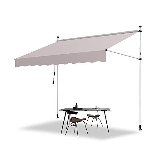 Hengda 250 x 120 cm Markise Einziehbar Klemmmarkise Balkonmarkise Sonnenschutz ohne Bohren Höhenverstellbar