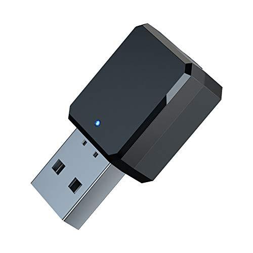 QDY-(2 Piezas Adaptador Bluetooth USB, Mini Receptor Bluetooth y Transmisor Bluetooth 5.1 Adaptador de Bluetooth con Audio Inalámbrico 3.5MM Cable para PC/TV/Auriculares/Altavoces/Radio