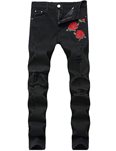 Nutriangee Men's Floral Jeans, Ripped Skinny Distressed Destroyed Slim Fit Stretch Rose Embroidered Pants Black 28