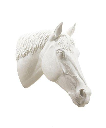 Skulptur Pferdekopf, Farbe Weiß, von Ottmar Hörl – verschiedene Editionen 2012 – Maße: H 65 cm x B 25 cm x 68 cm – Gewicht: 5 kg.
