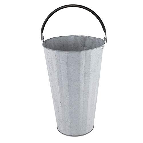 SPICE OF LIFE(スパイス) 花桶 ロングバケツ フラワーポット ハンドル付き NORMANDIE シルバー Lサイズ 直径20.cm 高さ40cm ブリキ HUY601L