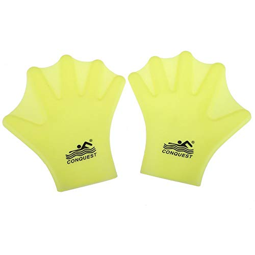 OMDD Silicone Webbed Swimming Gloves Aqua Fit Swim Training Gloves Web Gloves Swimming,Closed Full Finger Webbed Water Gloves Unisex Adult,2PCS
