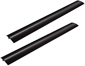 Stove Counter Gap Cover - Flexible Easy Clean Heat Resistant Wide & Long Gap Cap Fillers, Seals Spills Between Appliances, Furniture, Stovetop, Oven, Washer & Dryer, Set of 2 (Black, 21 Inches)