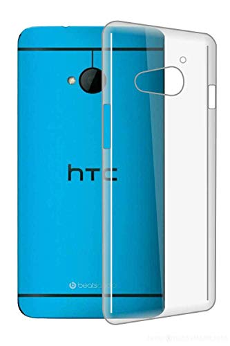 Jhingalala Premium Clear Transparent Protective Soft Flexible TPU Back Case Cover for HTC ONE M7 (Transparent)