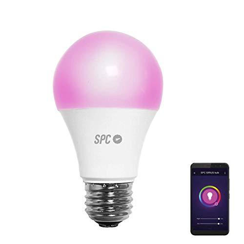 SPC Sirius 470: Bombilla LED Wi-Fi E27, 6 W, 470 lm, iluminación inteligente, luz blanca y de color RGBW, control remoto mediante aplicación móvil SPC IoT [Clase de eficiencia energética A+]
