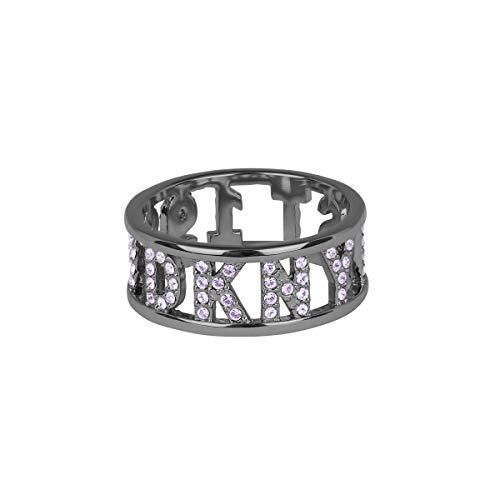 DKNY – Anillo de 1989 (rodio) con piedras de Swarovski – Anillo para el dedo, joyas para mujer, color plateado