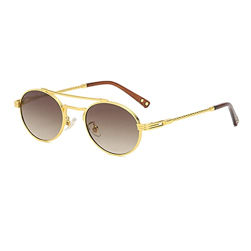 QWKLNRA Gafas De Sol para Hombre Marco Dorado Lente Marrón Polarizado Deportes Gafas De Sol Ovaladas para Hombre Vintage Punk Mirror Gafas De Sol para Hombres Uv400 Coloridos Tonos Retro Pequeño M