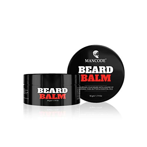 Mancode Beard Balm-50gm, Moisturizes, Soften & Nourishes Your Blend of Beeswax, Shea Butter & Essential Oils.