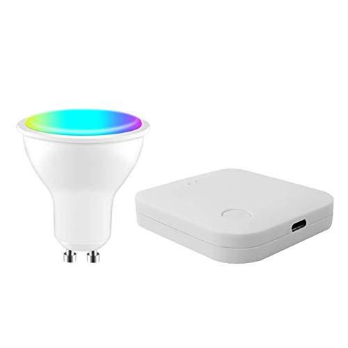 SKTE Tuya ZigBee Smart Gu10 Bombilla WiFi que cambia de color, foco LED, control de voz inteligente, función de interruptor de temporizador, centro de puerta de enlace.
