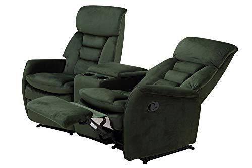 lifestyle4living Kinosessel 2-Sitzer in Grün, Samt | Hochwertiger, Verstellbarer 2er Heimkino-Sessel mit 2 Getränkehaltern für Bequeme Heimkino-Abende