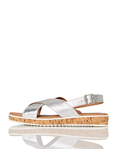 Marca Amazon - find. Crossover Cork Sole Leather - Sandalias con plataforma plana Mujer