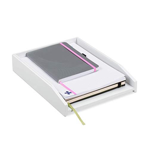 Relaxdays Briefablage, Dokumentenablage, Bambus, stapelbar, DIN A4, Postablage, Schreibtisch, Büro, HBT 6x25x33 cm, weiß
