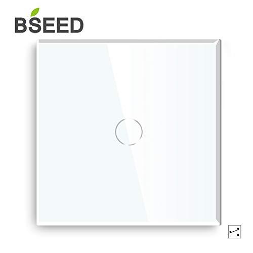 BSEED Touch Lichtschalter 1 Fach 2 Wege Glas Lichtschalter Weiß Led Touch Schalter Touchscreen Funktioniert mit LED Lampe EU Standard