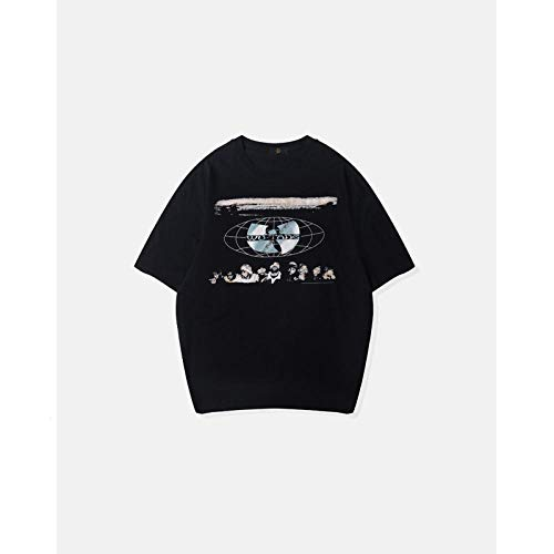 Htekgme Camiseta Verano Banda Personalizada Impresión Casual Cuello Redondo Manga Corta Camisetas Tops-Black_L