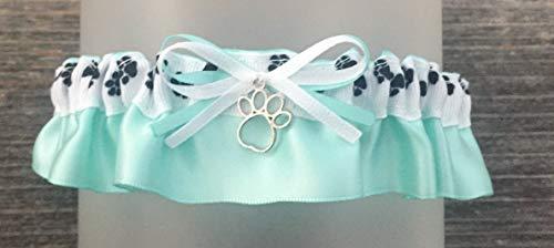 Black White Aqua Satin Wedding Bridal Keepsake Garter - Silver Paw Print Charm