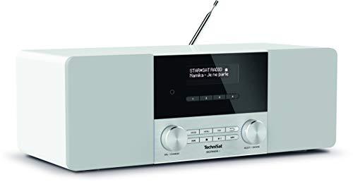 TechniSat DIGITRADIO 4 - Stereo DAB Radio (DAB+, UKW, Bluetooth-Audiostreaming (Empfang), Kopfhöreranschluss, AUX-Eingang, Radiowecker, OLED Display, 20 Watt RMS, Elac Lautsprecher) weiß