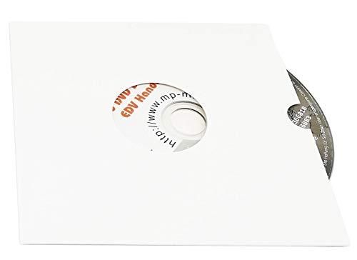 100 CD Karton Hüllen mit Loch und Griffloch, CD Kartonstecktaschen weiß glänzend (Papphüllen) für je 1 CD/DVD/Blu-Ray Rohling, Made in Germany