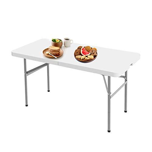 Todeco - Tavolo Trasportabile, Tavolo Portatile Pieghevole, 124 x 61 cm, Bianco, Pieghevole a metà, Materiale: HDPE, Carico Massimo: 100 kg