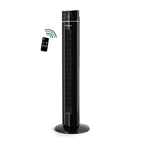 Orbegozo TWM 1009 - Ventilador de torre con Mando a distancia, Iónico, 60 W, 3 velocidades, bandeja para esencias, panel frontal LED, Negro