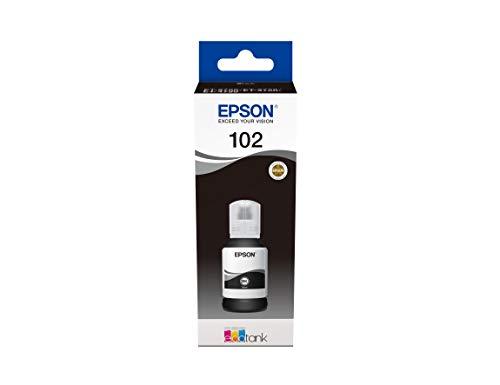 Epson C13T03R140 Serie 102 EcoTank Flaconi di Inchiostro a 4 Colori, Inchiostri Dye e a Pigmenti, 127 ml, Nero, con Amazon Dash Replenishment Ready