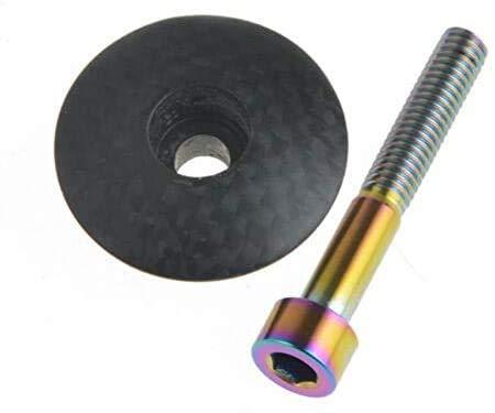 Hinleise 1-1/8 mate fibra de carbono para ciclismo, cabeza superior de vástago de titanio perno de carretera bicicleta de montaña + tornillo de titanio M6X35 (1 unidad)