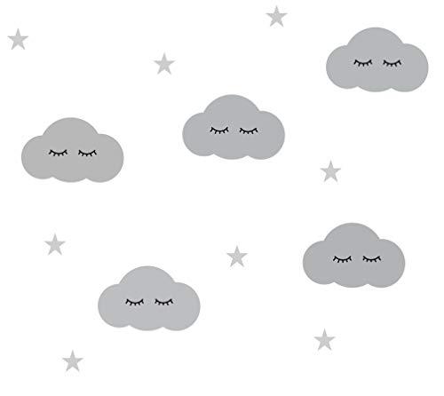 Wandtattoo Wolken Sleepy Eyes mit Wimpern an der Wand SÜSSE WÖLKCHEN - 21 teilig - Wolke Wandtatoo Wandaufkleber Wand-Deko (Grau)