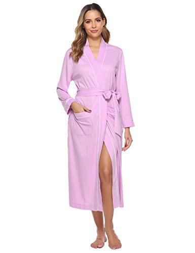 Sykooria Bata para Mujer Algodón, Largo Albornoz Kimono