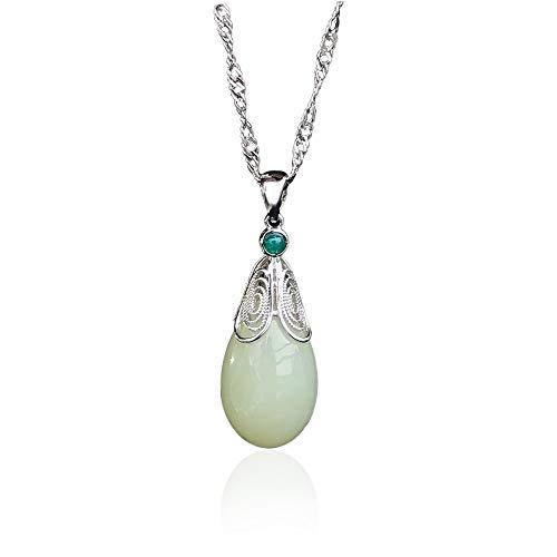 Natural Hetian Jade Colgante 925 Collar de Onda de Agua de Plata esterlina Drop Jade Colgante Regalo de la Madre para el Día de la Madre