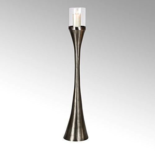 Lambert Laza Bodenwindlicht rund groß matt Vern H135,5 Metallaccesoires, Kristall, Silber, One Size
